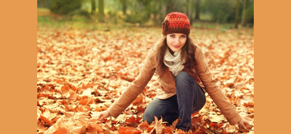 Homeopathy girl in autumn park